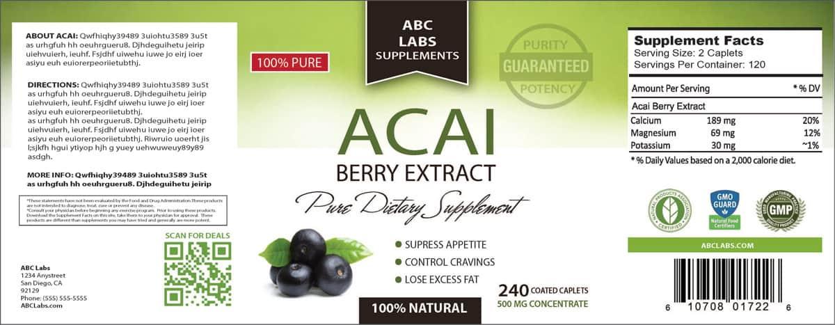 acai supplement label design