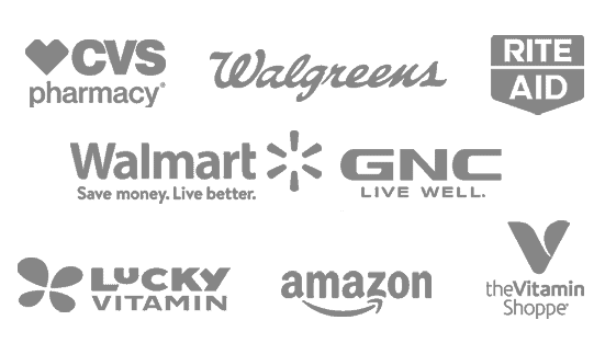 CVS Pharmacy, Rite Aid, Walgreens, Walmart, The Vitamin Shoppe, GINC, Amazon, Lucky Vitamin